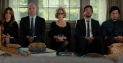 Tina Fey, Corey Stoll, Jane Fonda, Jason Bateman, and Adam Driver in This Is Where I Leave You.