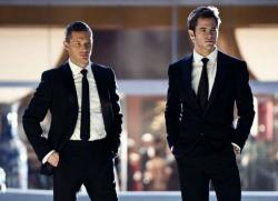 How can these civil servants afford such expensive suits?  Tom Hardy and Chris Pine in This Means War
