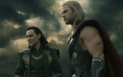Tom Hiddleston and Chris Hemsworth in Thor: The Dark World.