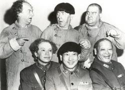 Larry, Moe and Curly Joe with their Chinese counterparts in The Three Stooges Go around the World in a Daze