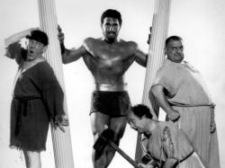 Moe Howard, Samson Burke, Larry Fine and Joe DeRita in The Three Stooges Meet Hercules