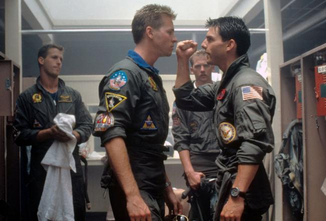 Val Kilmer and Tom Cruise repress their secret longings for each other in Top Gun.
