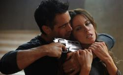 Colin Farrell and Kate Beckinsale in Total Recall.