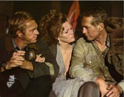 Steve McQueen, Faye Dunaway and Paul Newman in The Towering Inferno.