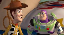 Woody and Buzz in Toy Story.
