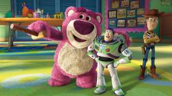 Ned Beatty, Tim Allen and Tom Hanks voice Lotso, Buzz and Woody in Toy Story 3.