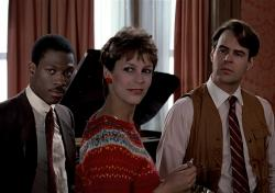 Eddie Murphy, Jamie Lee Curtis and Dan Aykroyd in Trading Places.