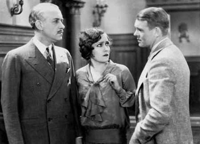 William Holden (not that William Holden),  Gloria Swanson, and  Robert Ames in The Trespasser.