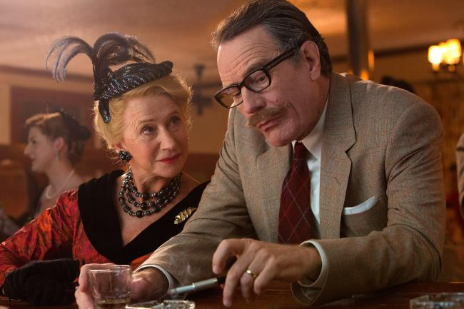Helen Mirren as Hedda Hopper and Bryan Cranston as Dalton Trumbo in Trumbo.