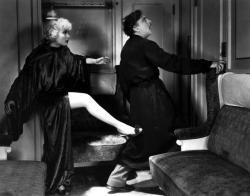 Carole Lombard kicks John Barrymore's butt in Twentieth Century.