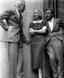 Howard Hawks, Carole Lombard and John Barrymore taking a break while filming Twentieth Century.