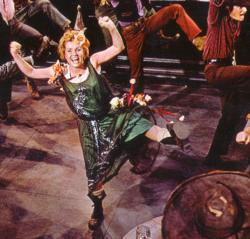 Debbie Reynolds giving it her all as The Unsinkable Molly Brown.