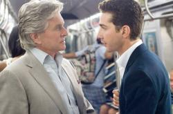 Michael Douglas and Shia LaBouf in Oliver Stone's Wall Street: Money Never Sleeps.