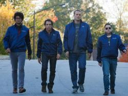 Richard Ayoade, Ben Stiller, Vince Vaughn and Jonah Hill in The Watch.