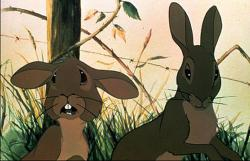 Richard Briers as Fiver and John Hurt as Hazel in Watership Down