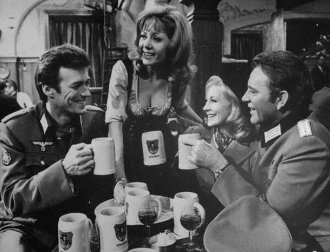Clint Eastwood, Ingrid Pitt, Mary Ure, and Richard Burton in Where Eagles Dare.