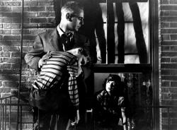 Paul Stewart, Bobby Driscoll and Ruth Roman in The Window.
