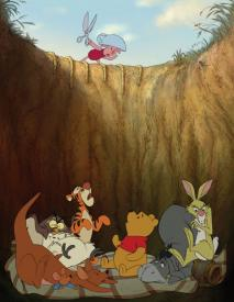 Piglet must find a way to save Pooh and friends.
