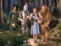 Ray Bolger, Jack Haley, Judy Garland and Bert Lahr in The Wizard of Oz.