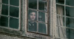 Daniel Radcliffe and the woman in black in The Woman in Black.