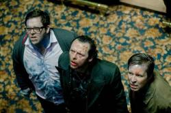 Nick Frost, Simon Pegg and Paddy Considine getting lectured on how they should get along with other species in The World's End.