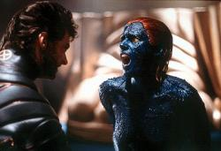 Hugh Jackman and Rebecca Romijn-Stamos in X-men.