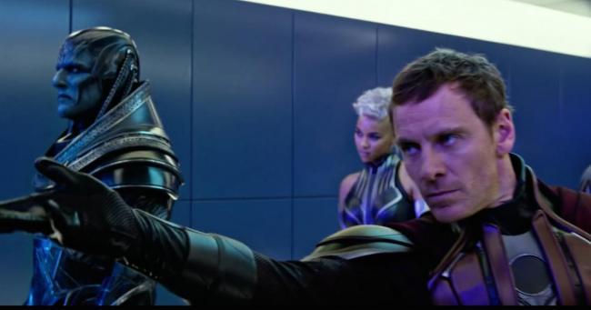 Oscar Isaac, Alexandra Shipp and Michael Fassbender in X-Men: Apocalypse