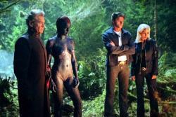 Ian McKellen, Rebecca Romijn, Hugh Jackman and Halle Berry in X-Men: The Last Stand.
