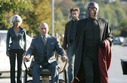 Halle Berry, Patrick Stewart, Hugh Jackman and Ian McKellen in X-Men: The Last Stand.