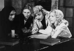 Marty Feldman, Cloris Leachman, Gene Wilder and Teri Garr in Young Frankenstein.