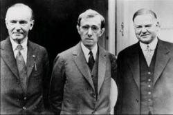 Calvin Coolidge, Woody Allen, and Herbert Hoover in Zelig.